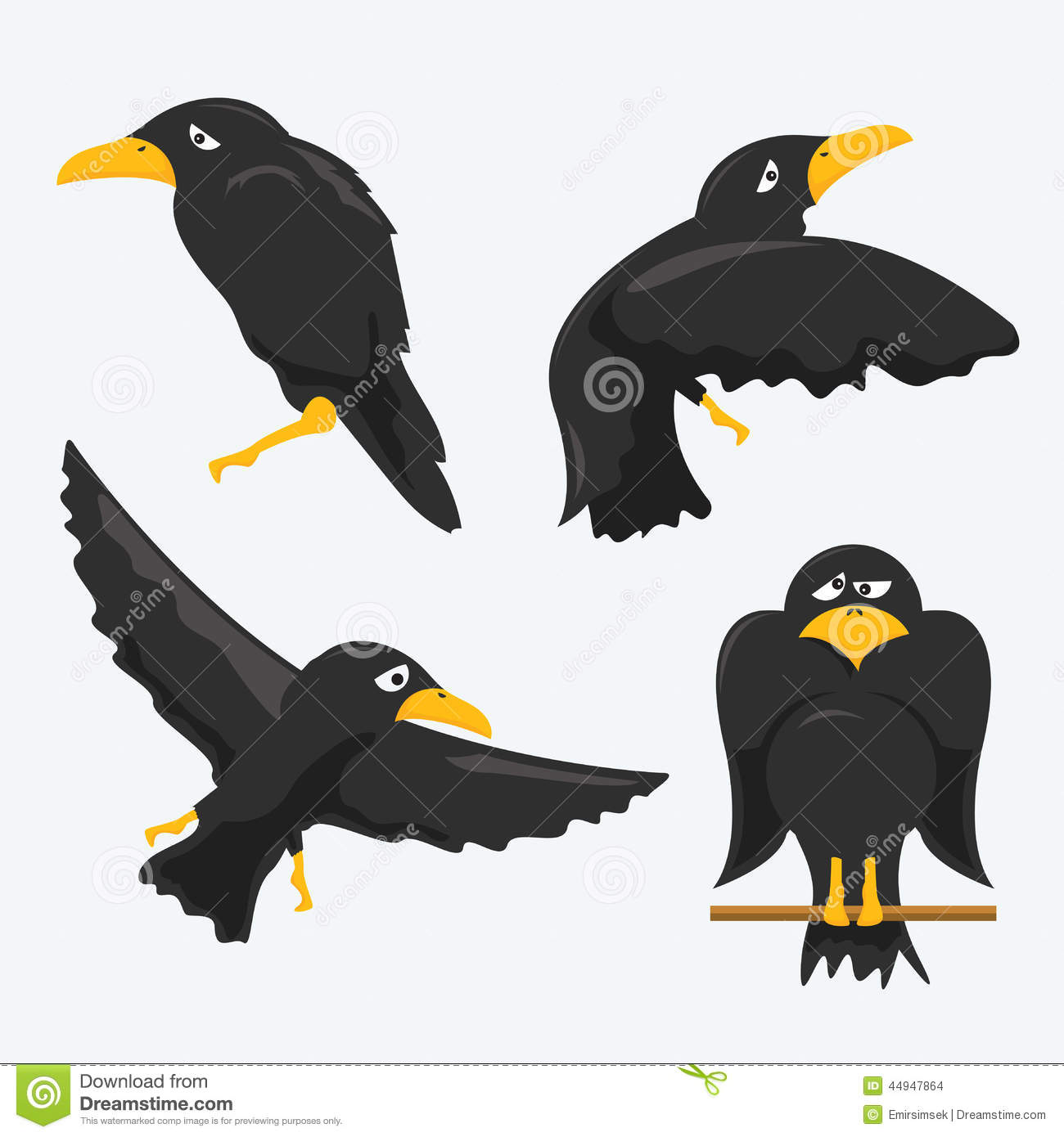 Crow Cartoons Stock Vector - Image: 44947864