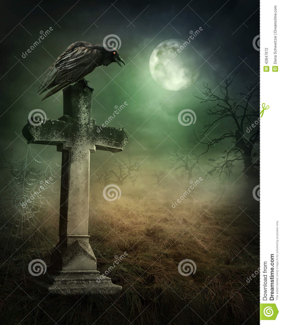 crow on a grave stock photo image 42847672