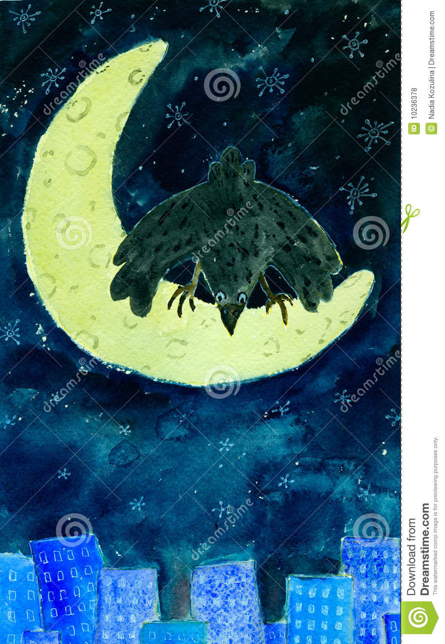 Download Crow on moon stock illustration. Illustration of wings - 10236378