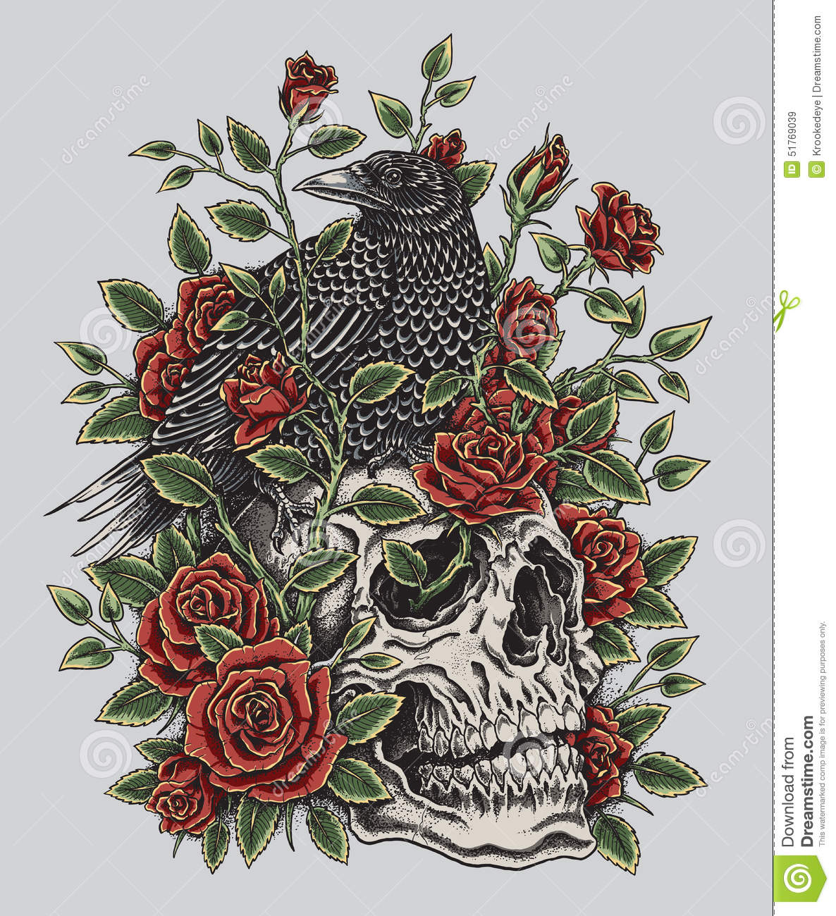 Crow Roses And Skull Tattoo Design Stock Vector Image