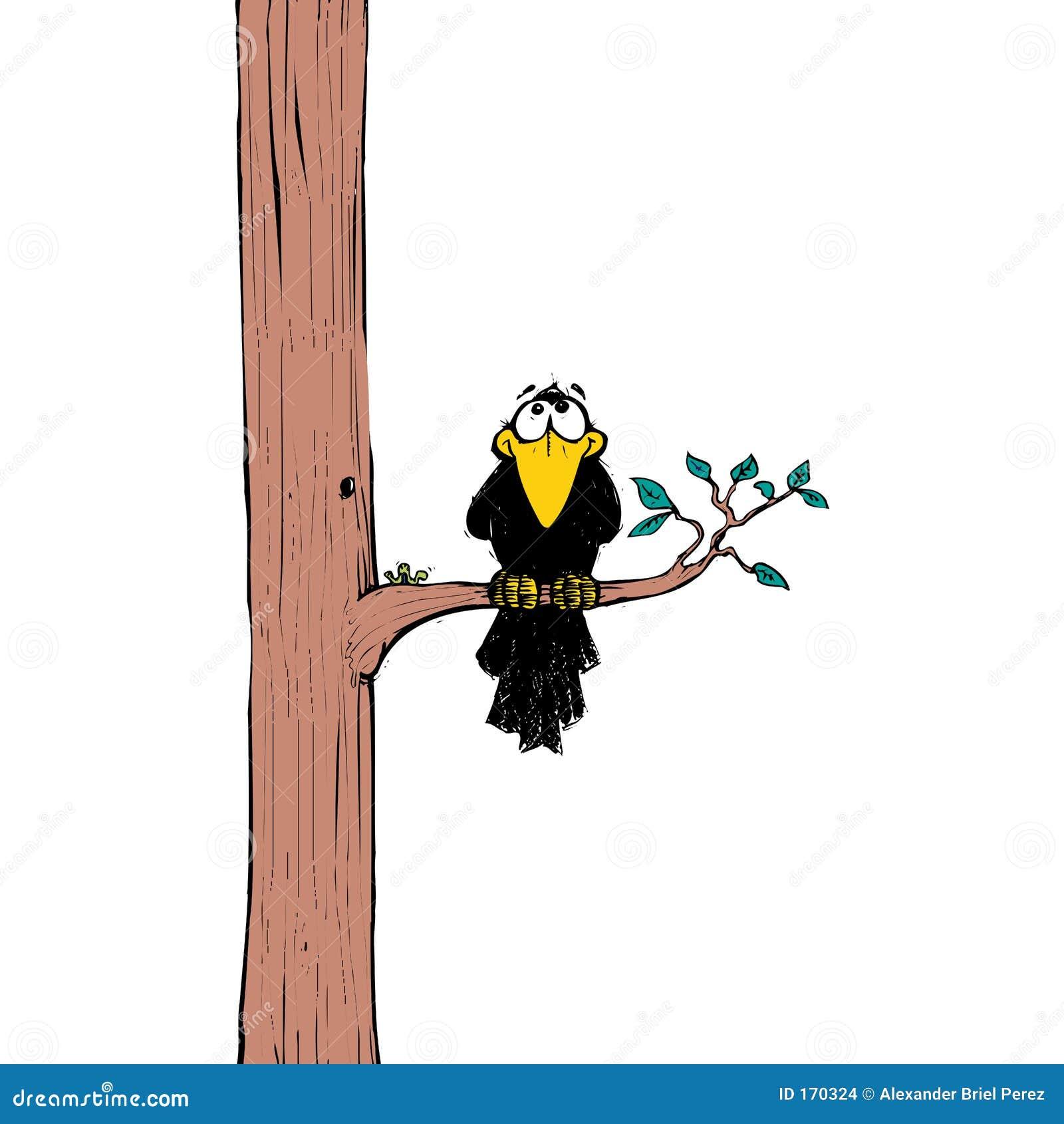 Crow on tree