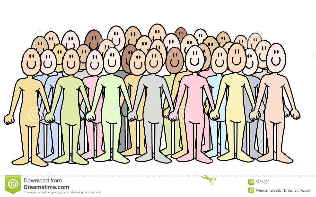 ... comic illustrated people standing together as a crowd holding hands