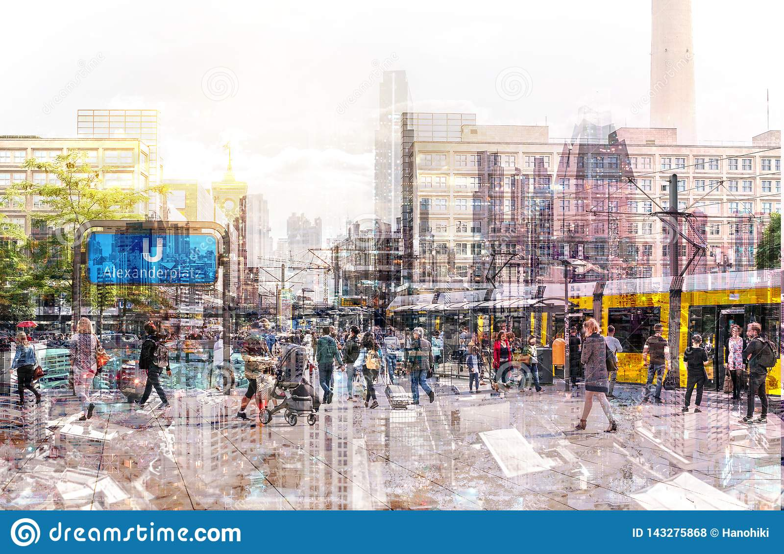 Crowd of anonymous people walking on busy city street - abstract cityscape