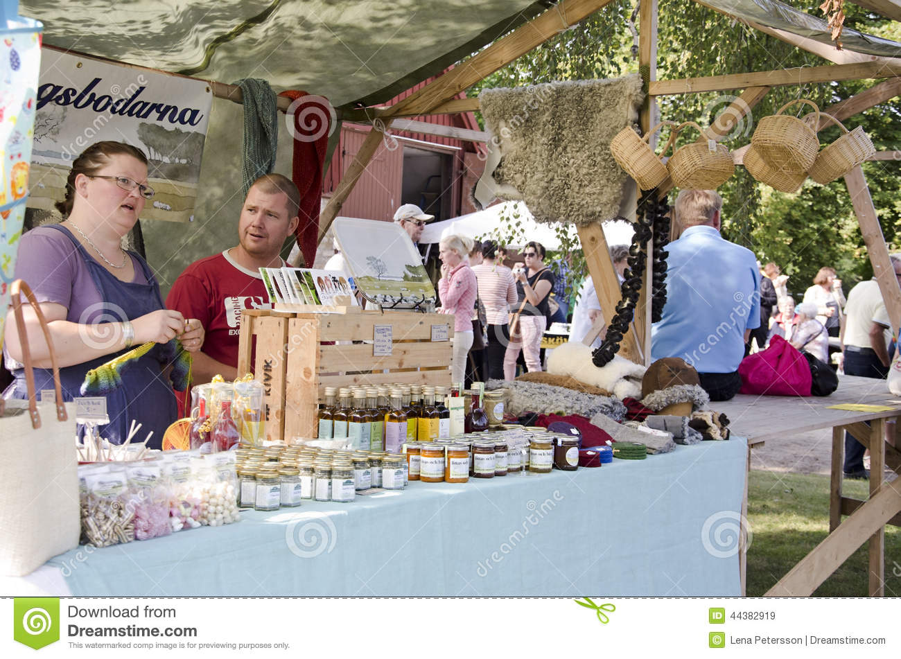 Crowd at an arts and crafts market editorial stock image for Crafts for selling at market