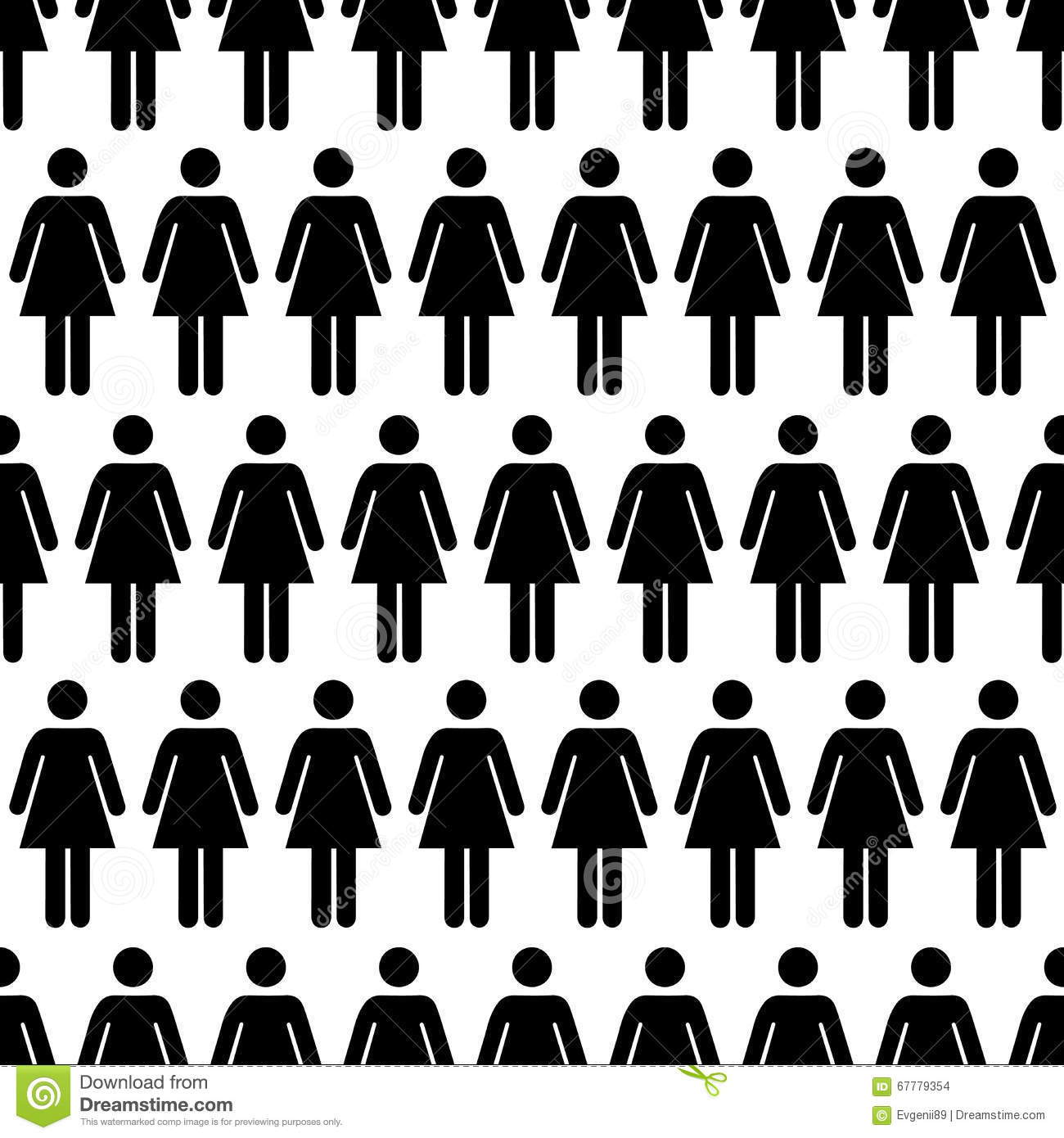 Crowd Of Indian Women Vector Avatars Stock Vector: Crowd Of Black Simple Women Icons On White, Seamless