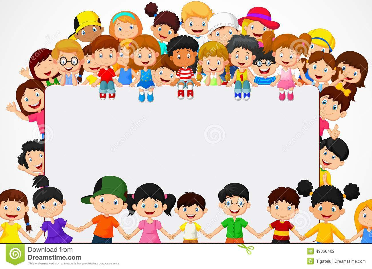 royalty free vector download crowd children cartoon