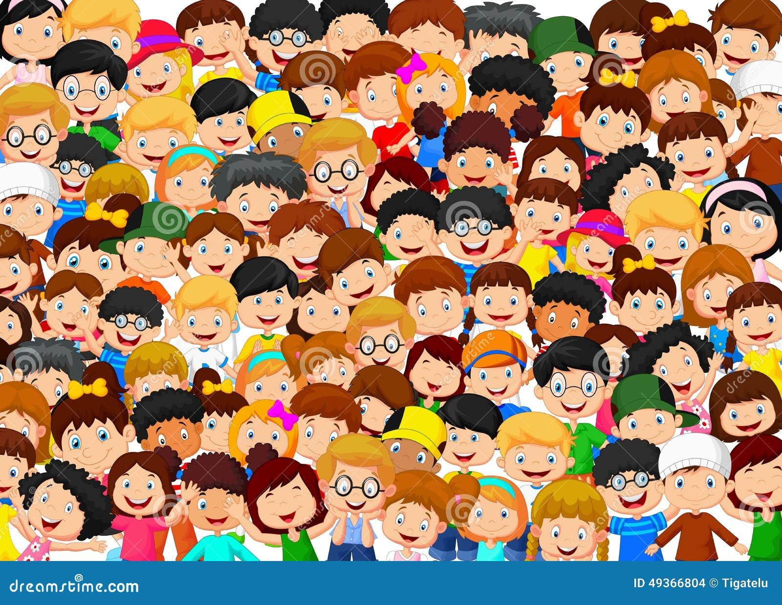 Crowd Of Children Cartoon Stock Vector - Image: 49366804