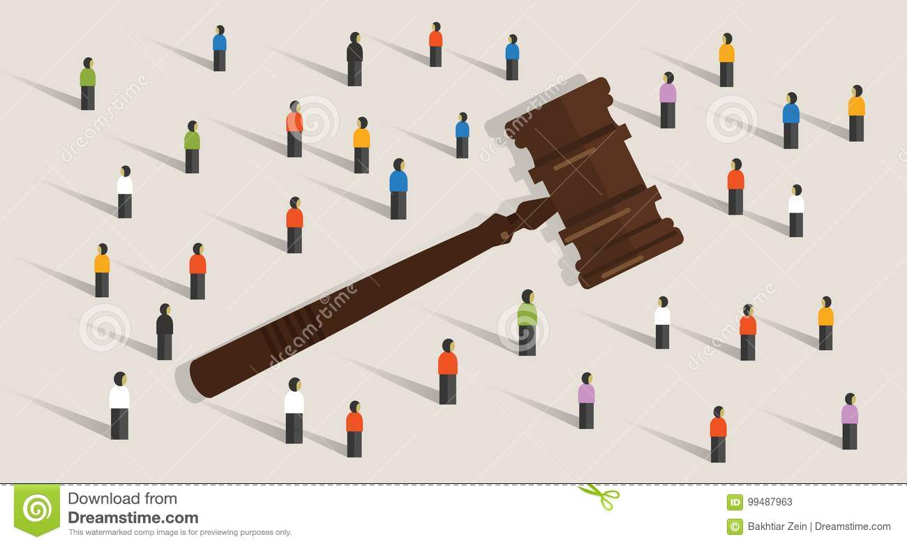 Crowd And Gavel Hammer Symbol Concept Of Social Judgment Decision In