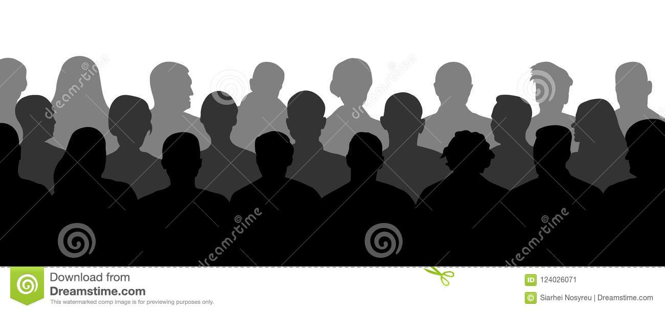 Crowd of people in the auditorium, silhouette vector. Audience cinema, theater.