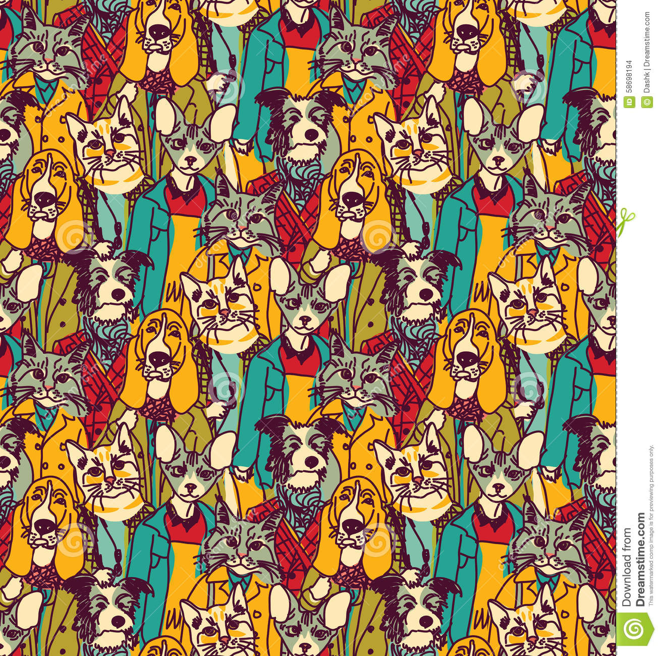 Color cats like - Crowd People Like Cats And Dogs Seamless Pattern Stock Images