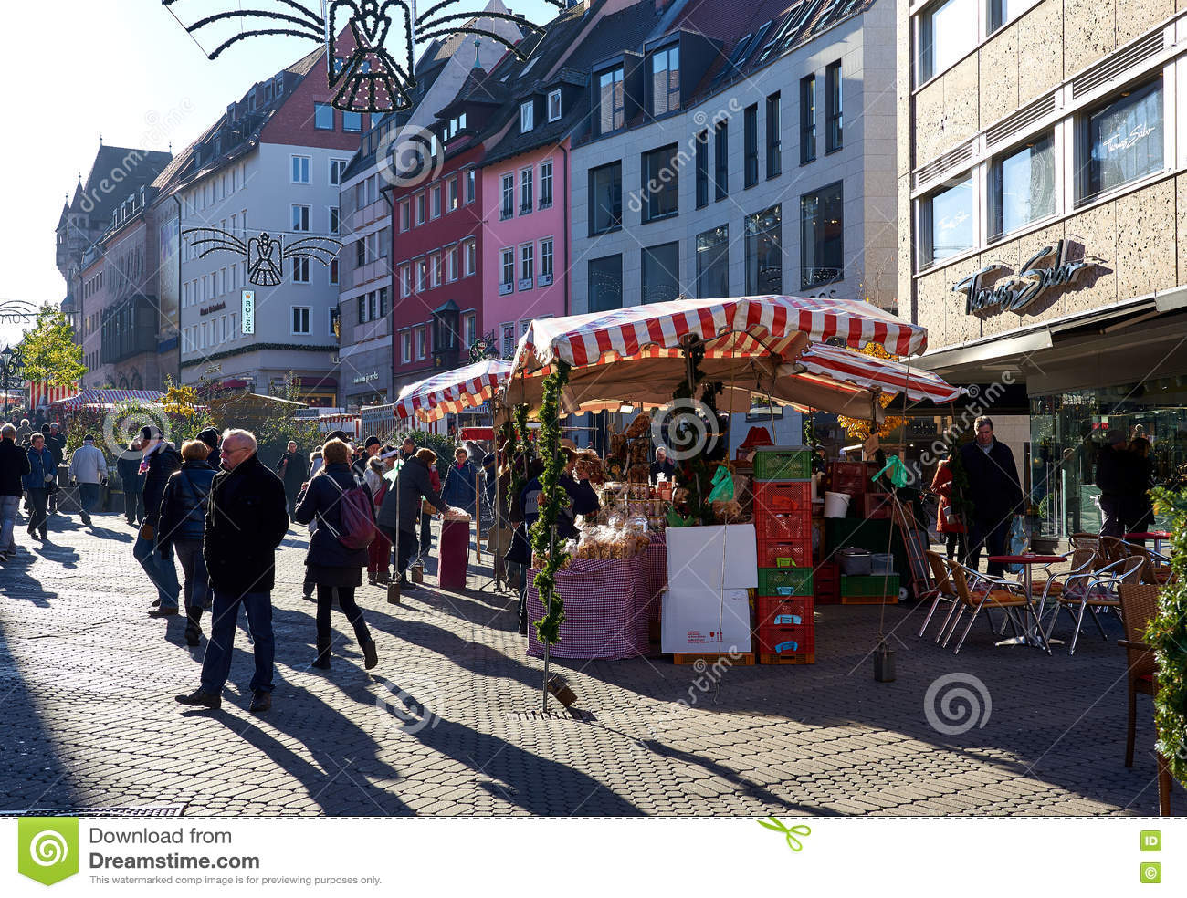 Crowd Of People On A Nuremberg`s Christmas Market. Germany Editorial ...