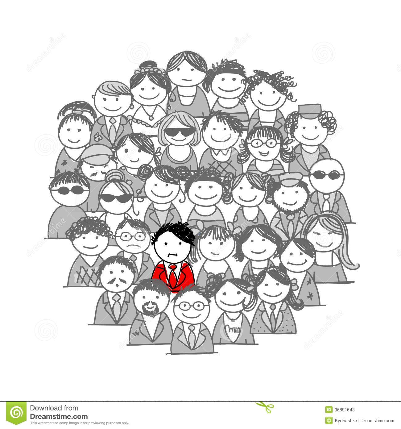 Crowd of people, sketch for your design