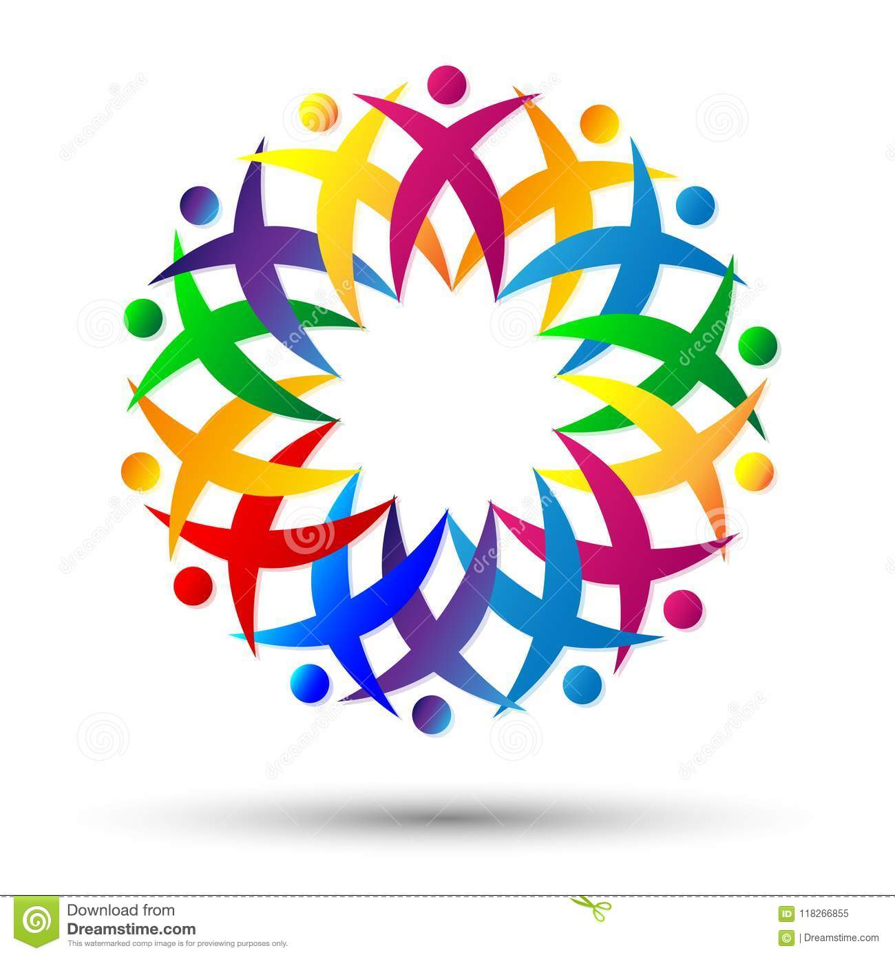 Crowd of People team work union, Cheering Up in Circle Logo on white background