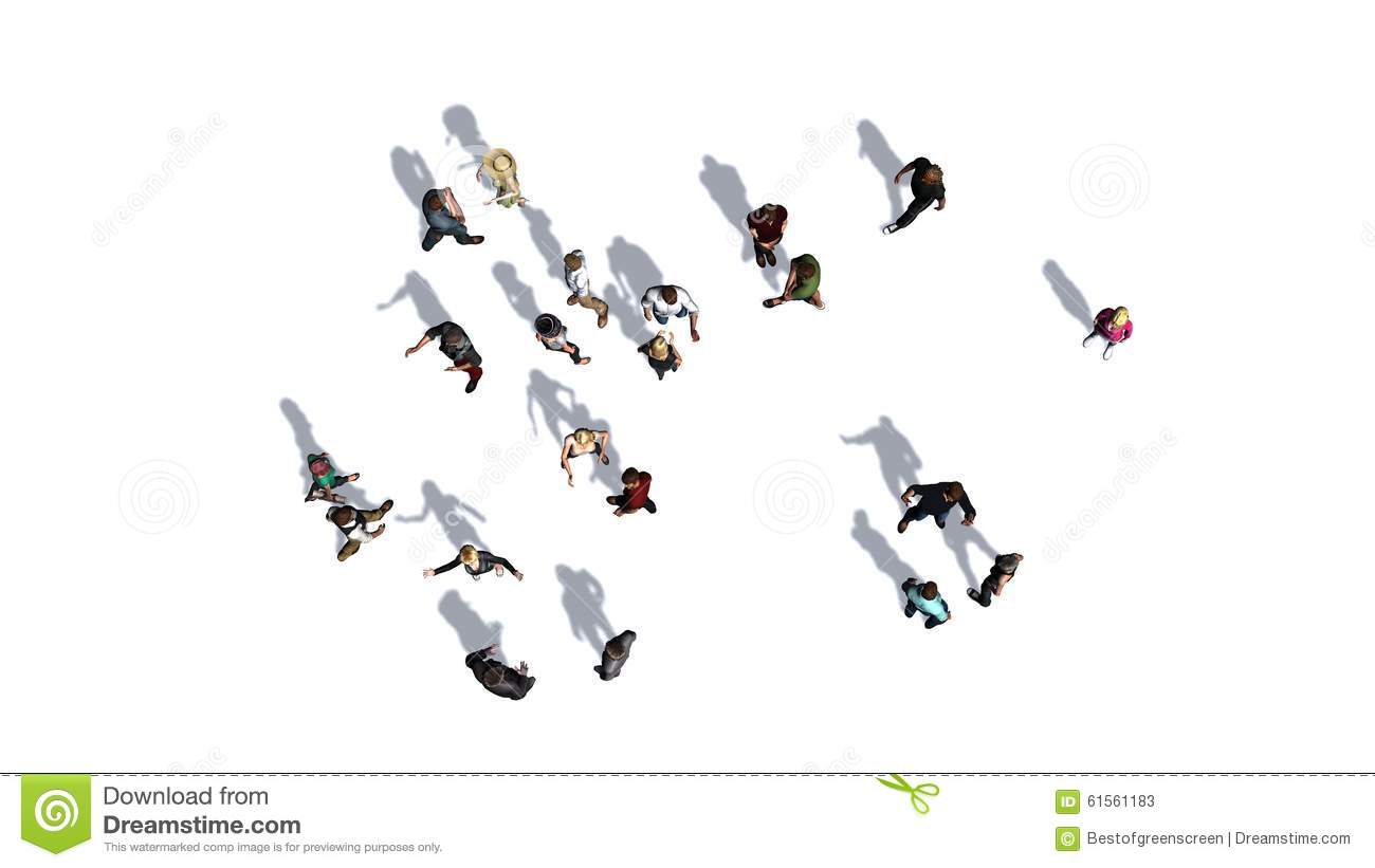 Floor Plans Architecture Crowd Of People In Top View On White Background Stock