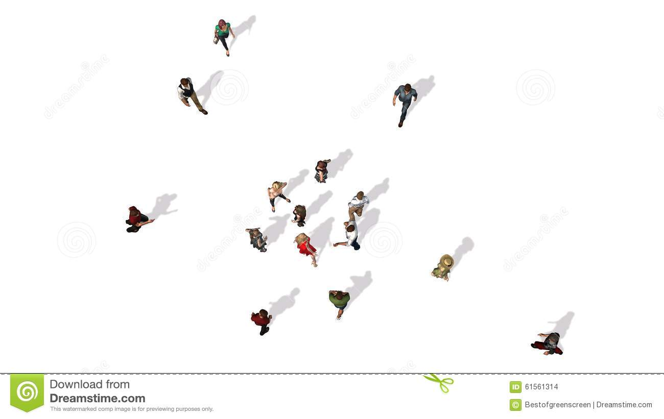 Stock Illustration Crowd People Top View White Background Image6156131...