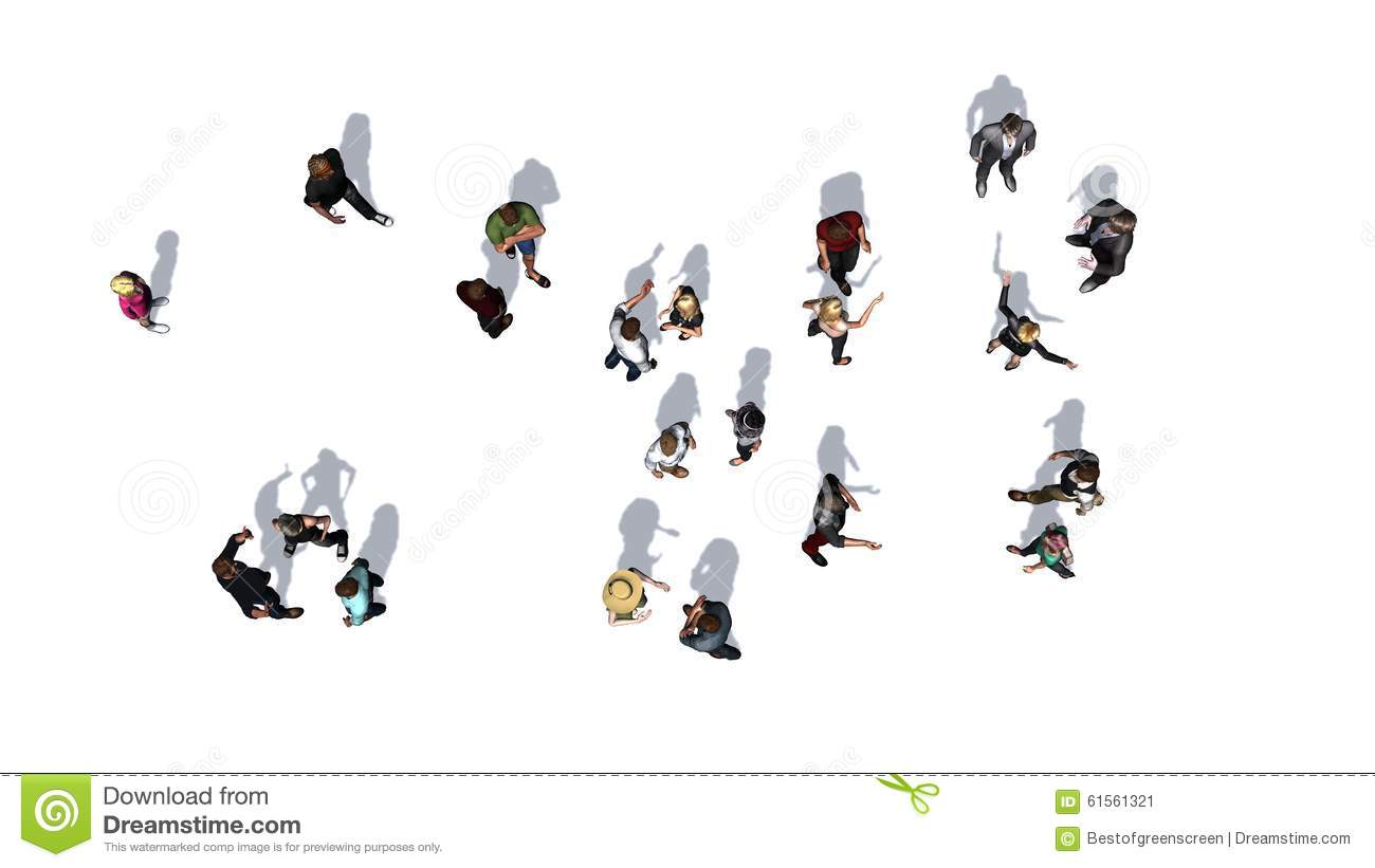 Stock Illustration Crowd People Top View White Background Image6156132...