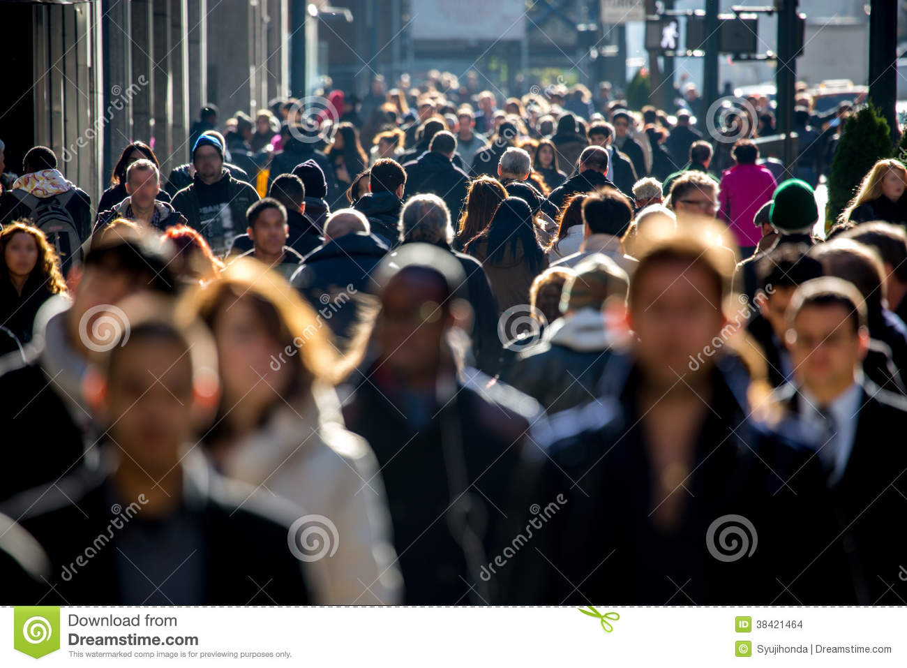 Crowd Of People Walking On Street Sidewalk Editorial Stock ...