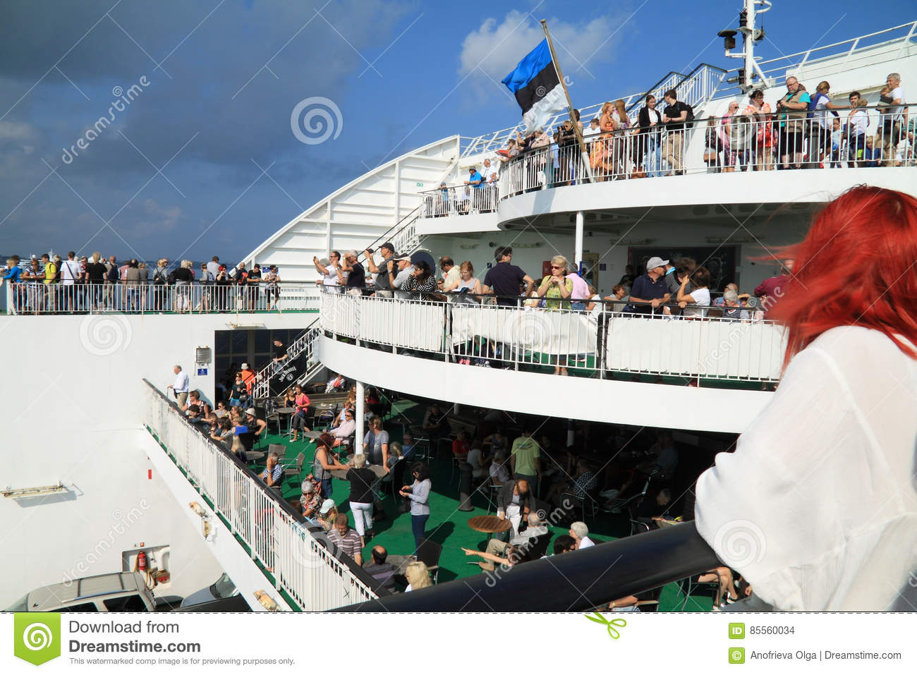 Crowd of the people who are having a rest on the ferry
