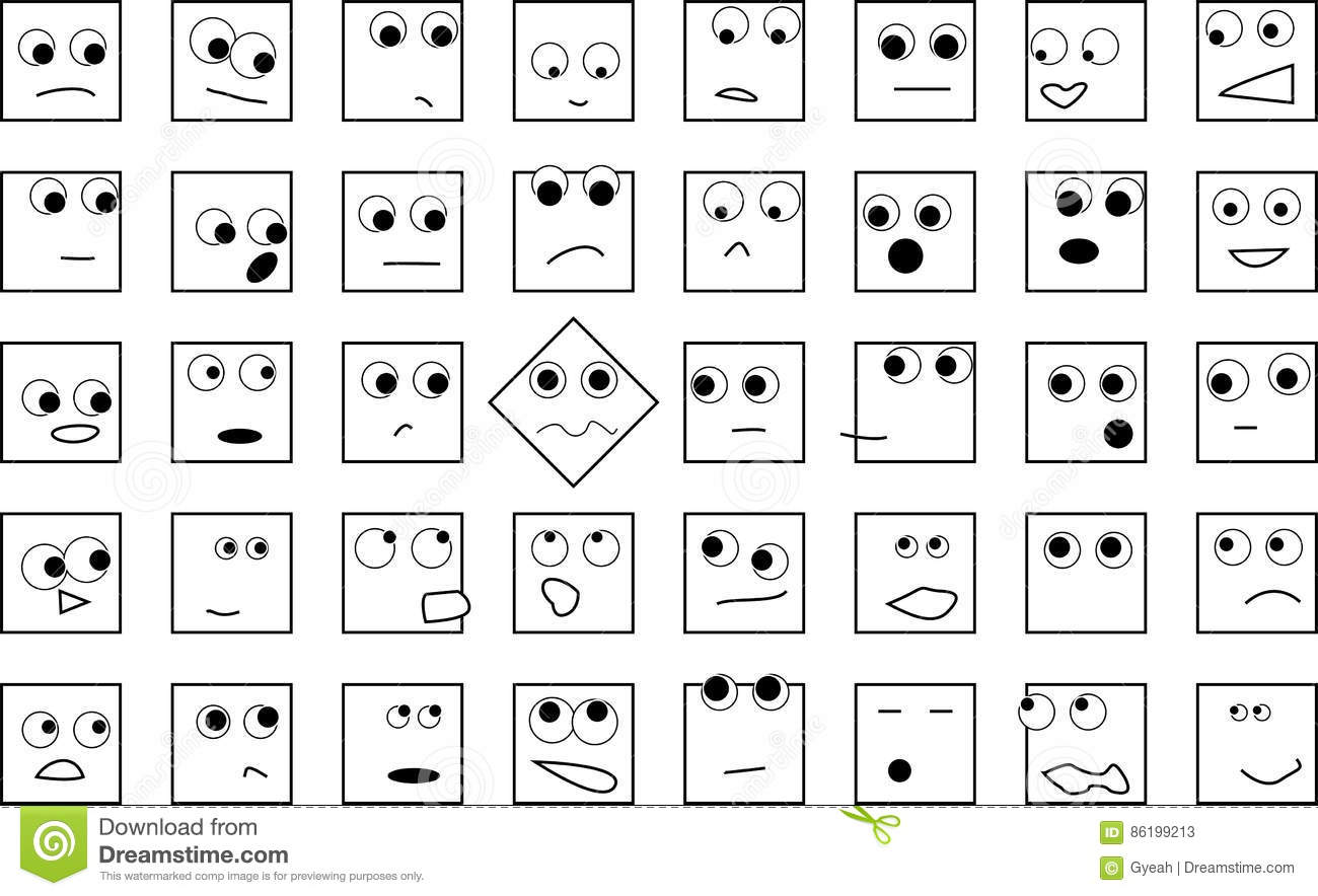 A Crowd Of Square Heads Stock Vector Illustration Of Together 86199213