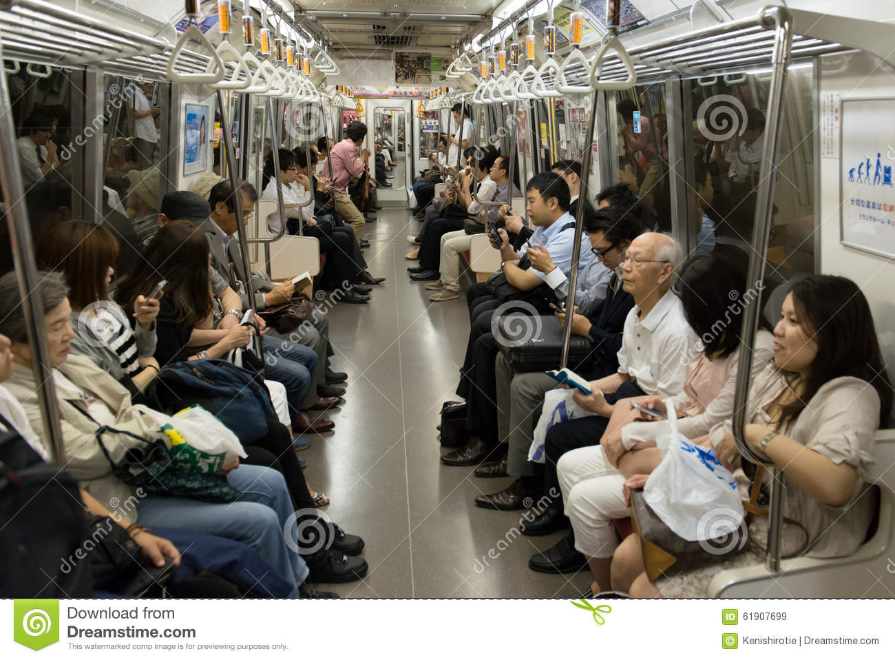 Crowd In Tokyo Subway Train Editorial Stock Image - Image of modern