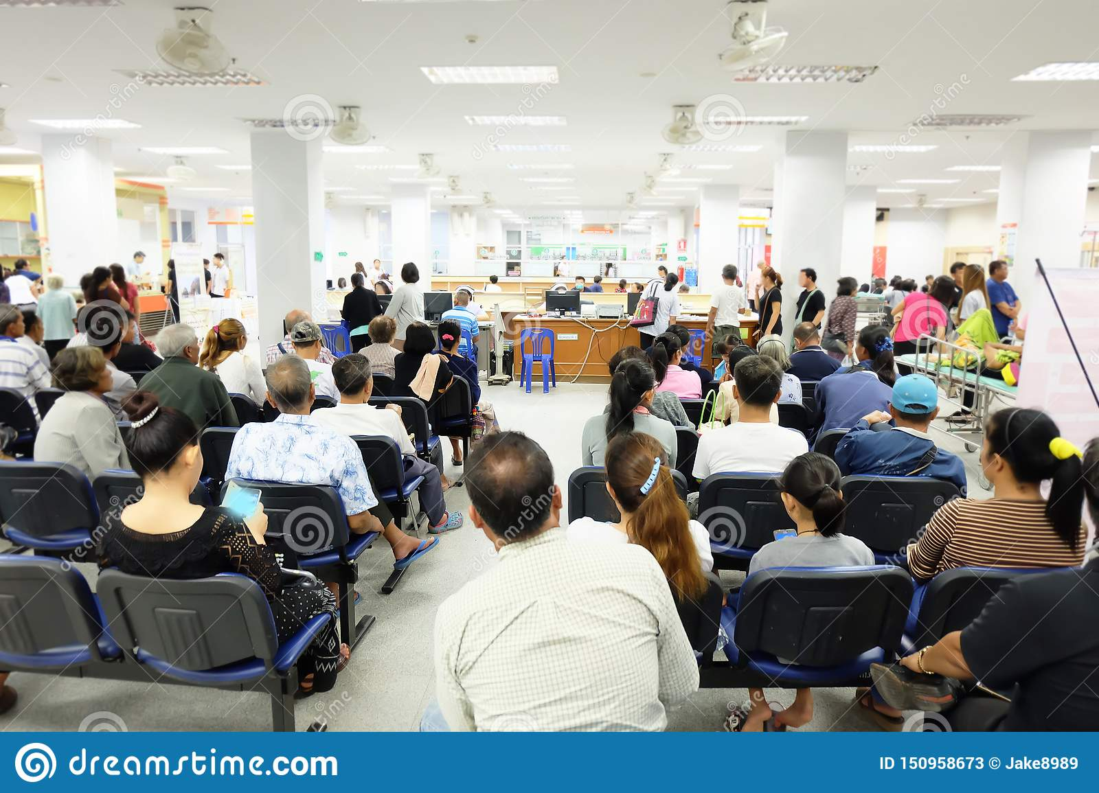 The crowd is waiting in the Asian hospital.