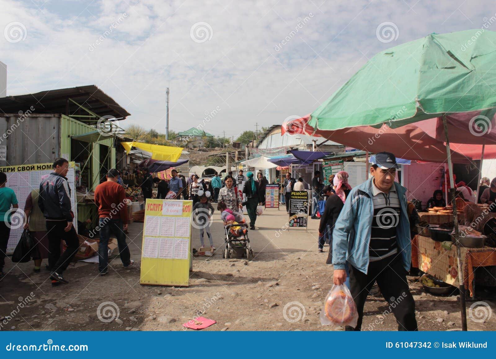 Crowded alley in Osh Bazaar