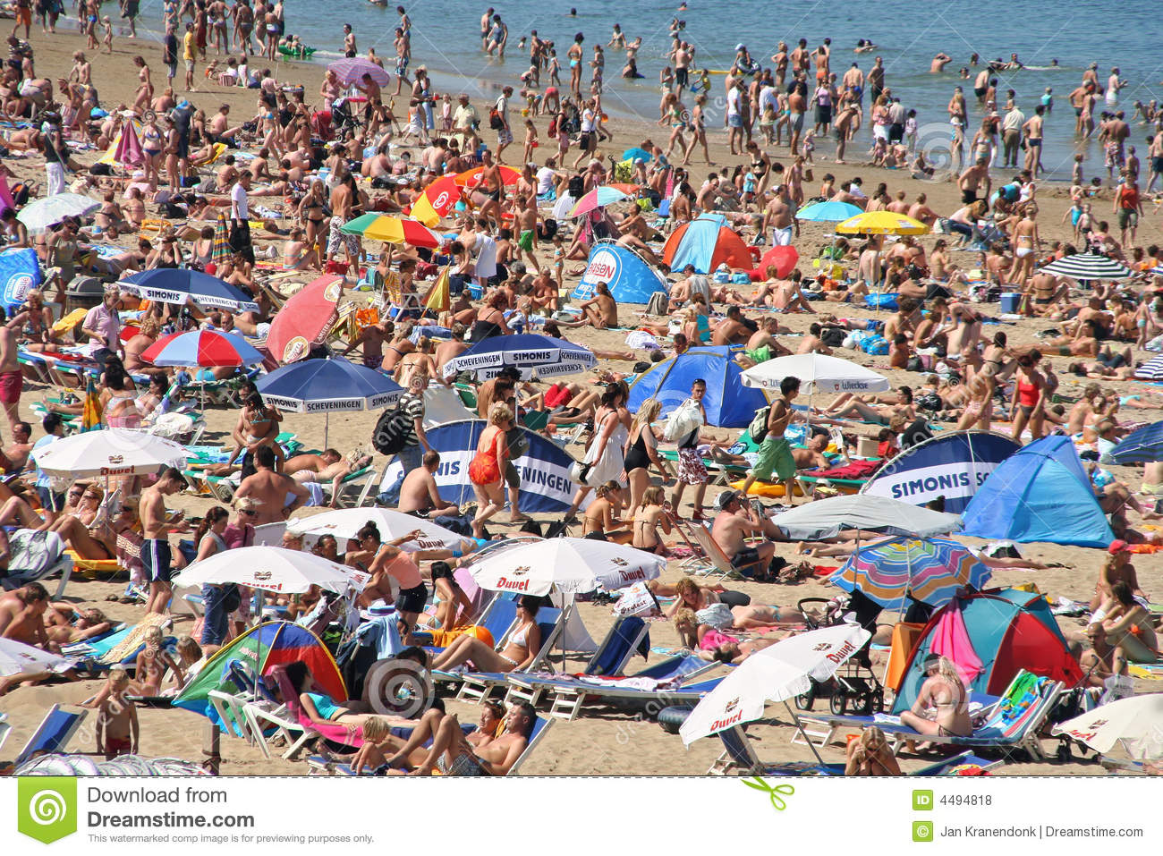 Crowded Beach In Summer Editorial Stock Photo - Image: 4494818