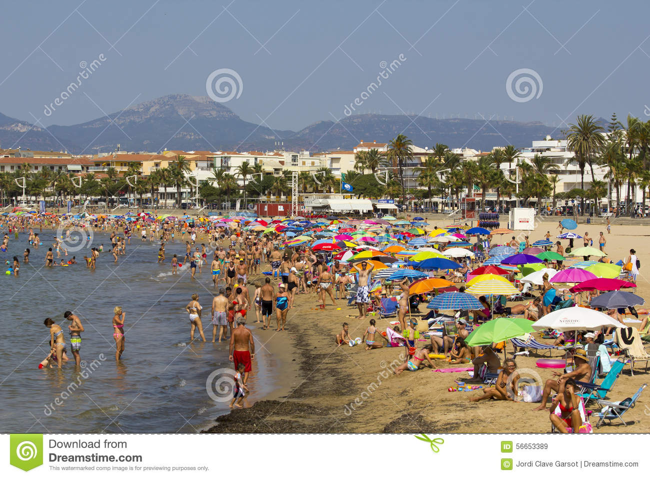 Beach House Building Plans Crowded Beach At Summer Editorial Stock Image Image
