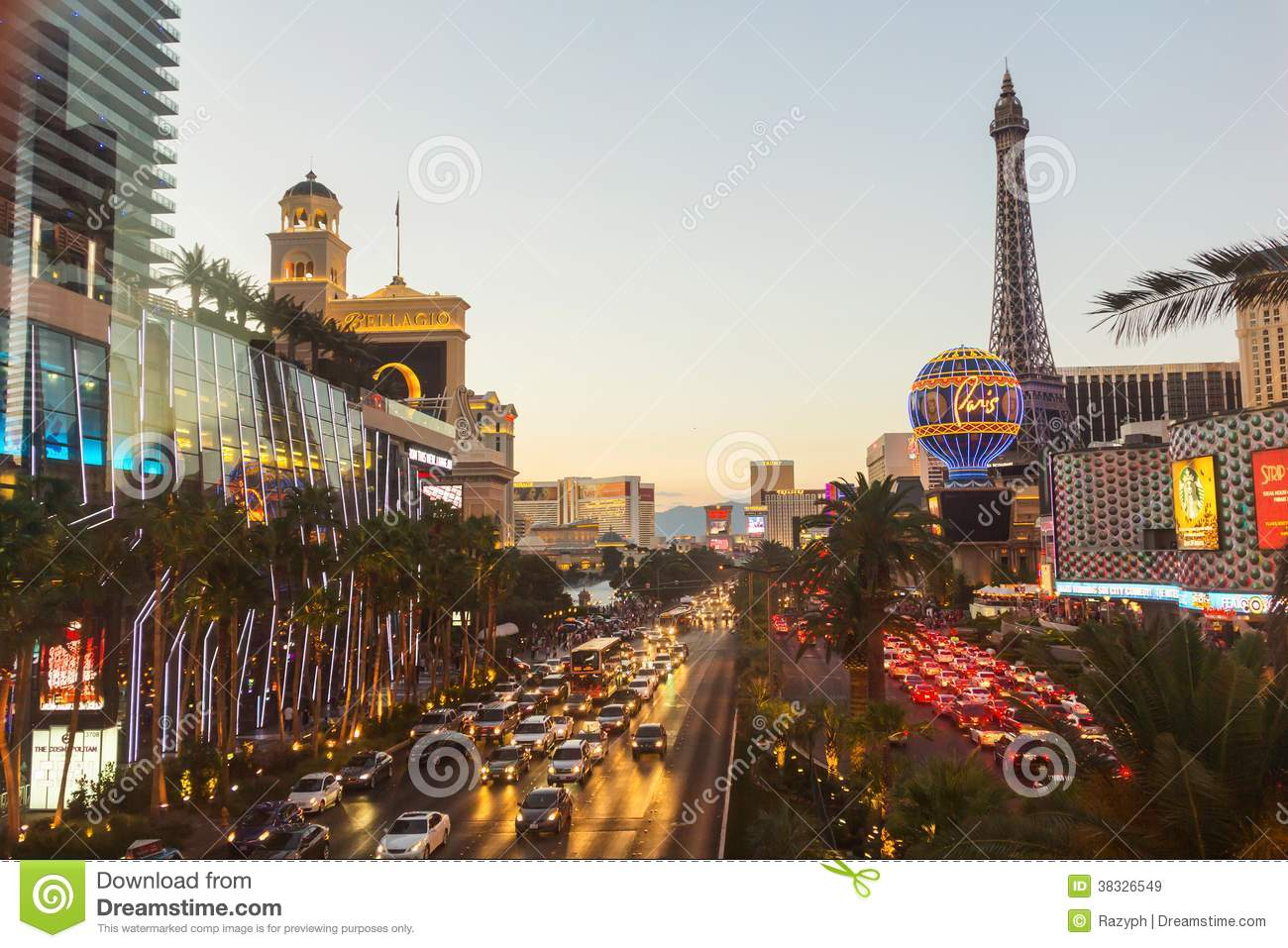 crowded boulevard at sunset in las vegas editorial stock image image of construction. Black Bedroom Furniture Sets. Home Design Ideas