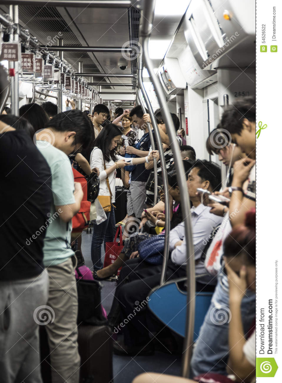 crowded carridge on subway train china editorial photography image 54526522. Black Bedroom Furniture Sets. Home Design Ideas