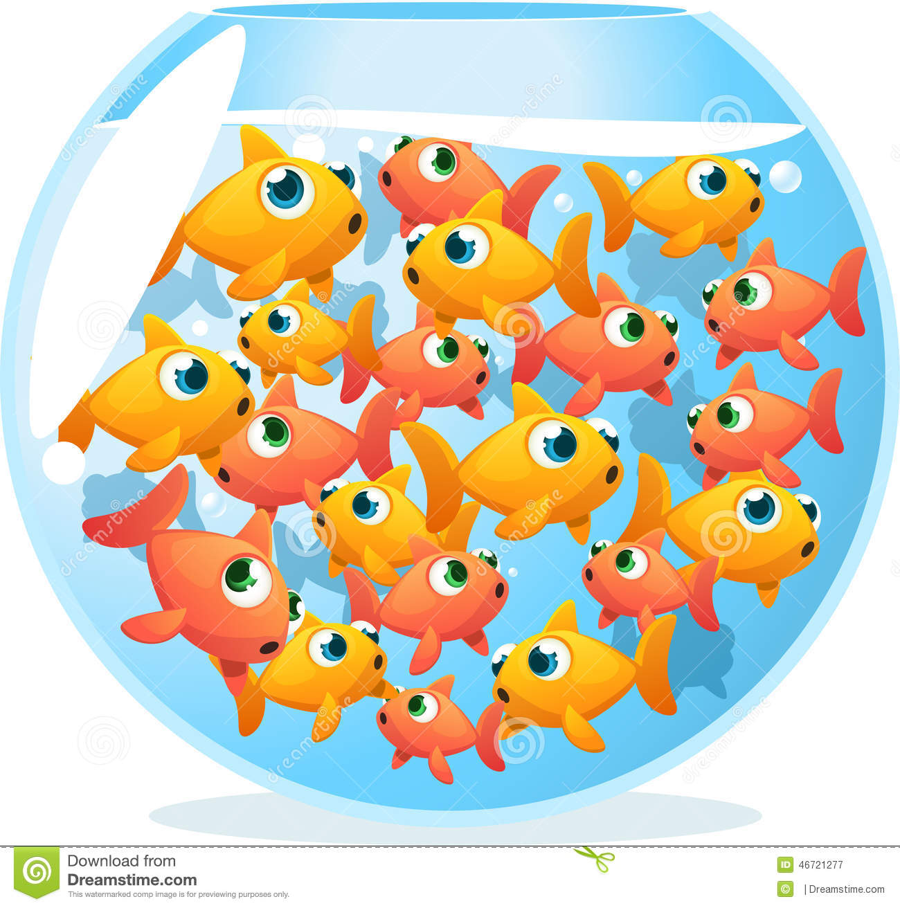 Crowded Fishbowl Full Of Fish Stock Illustration