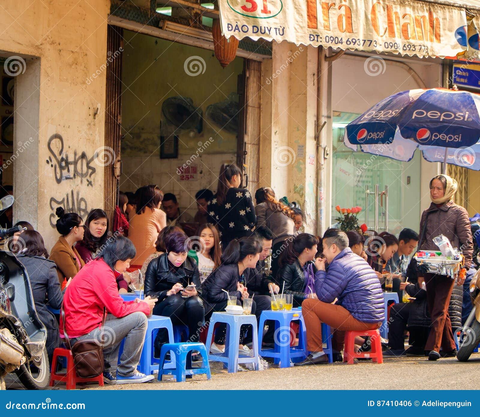 Crowded Hanoi Cafe, Vietnam