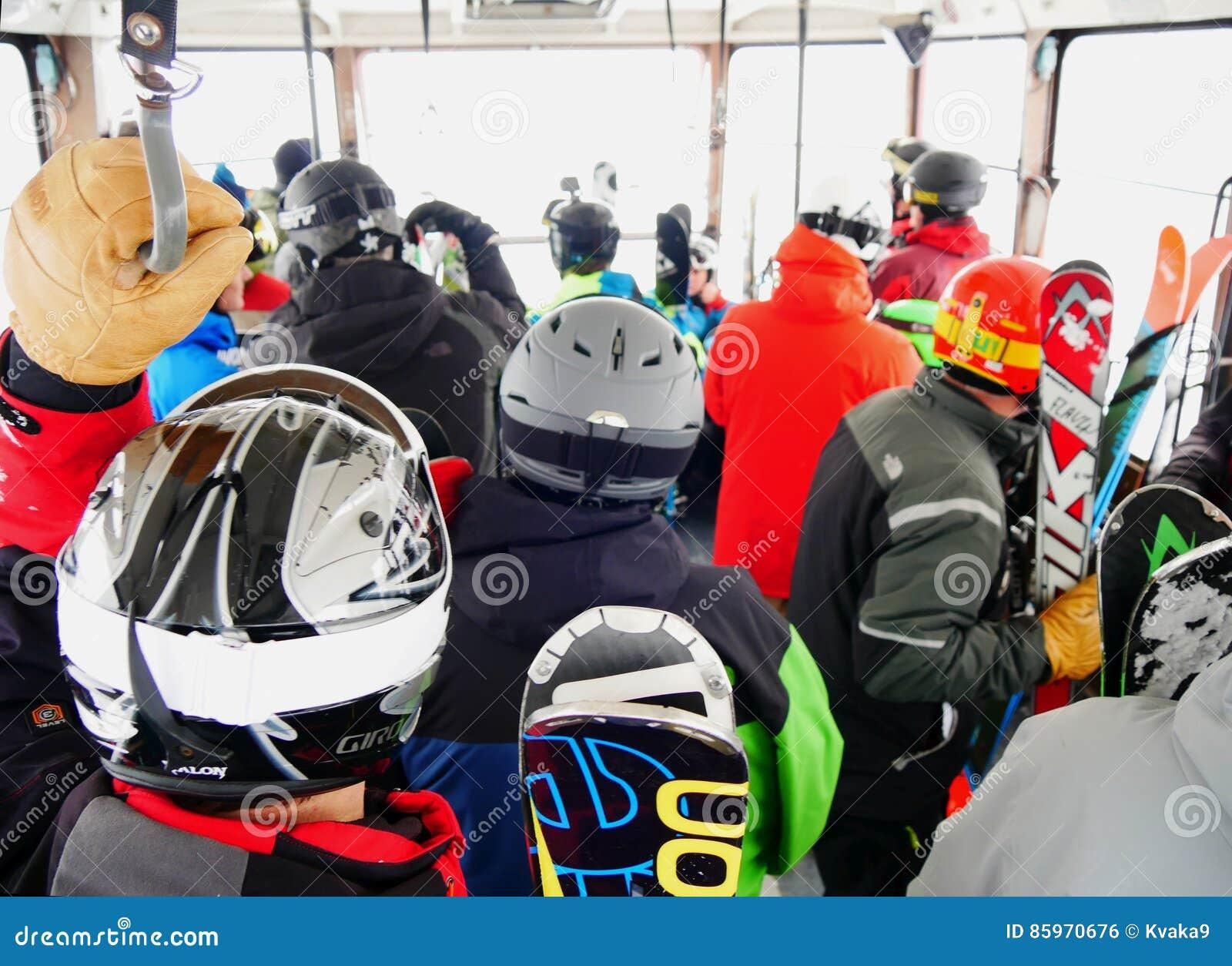 Crowded inside the ski gondola