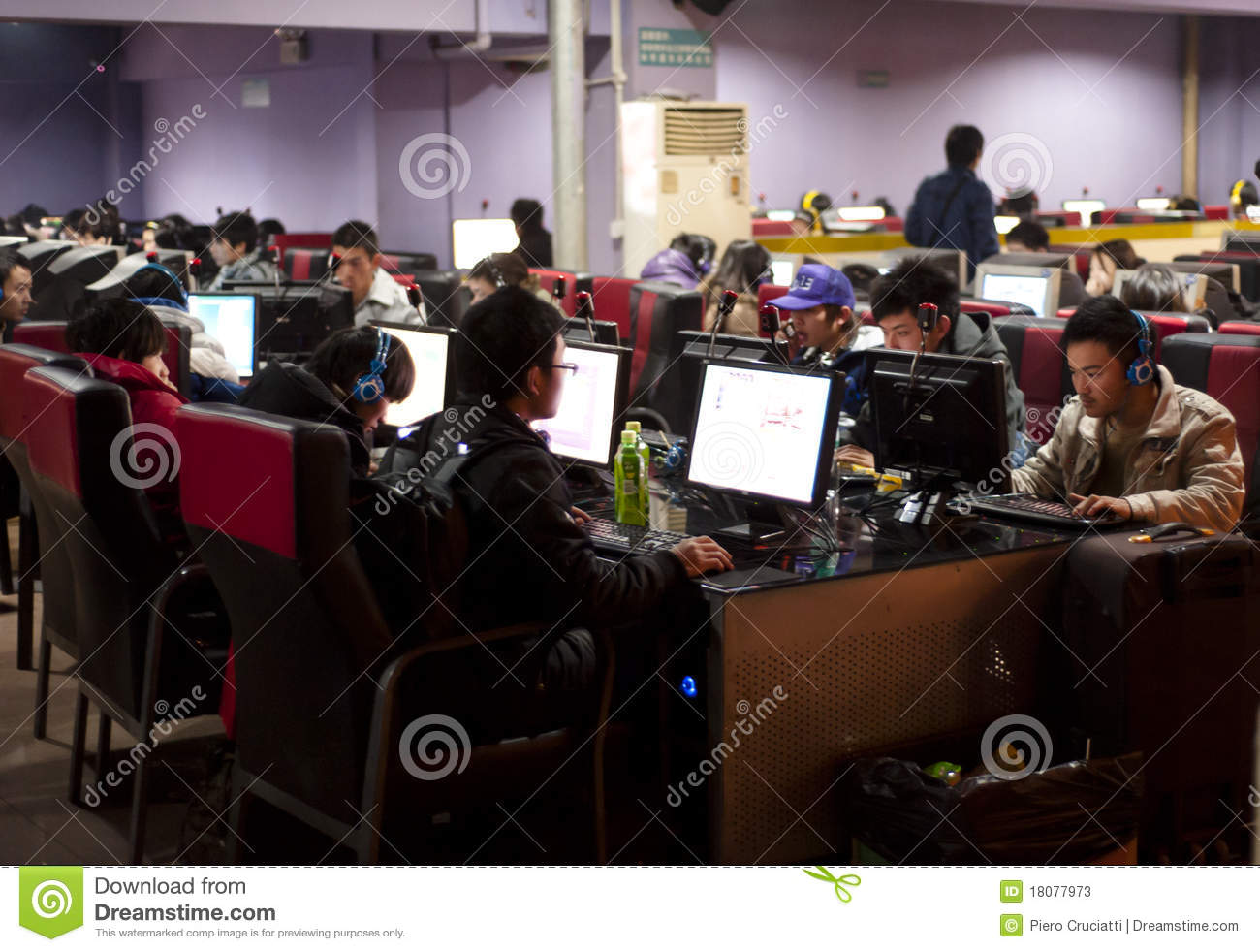 A crowded internet cafe in China