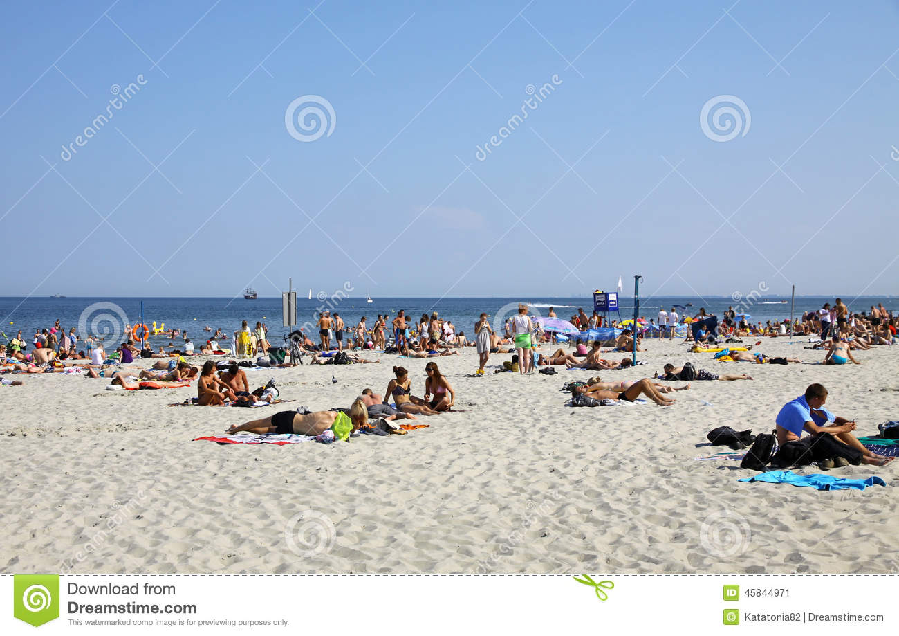 Gdynia Poland  city pictures gallery : GDYNIA, POLAND JULY 26, 2012: Crowded Municipal beach in Gdynia ...