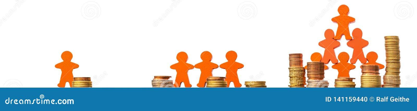 Crowdfunding som en väg av att finansiera affärsidéer som framme framläggas med mynt och trädiagram av en vit bakgrund i PA