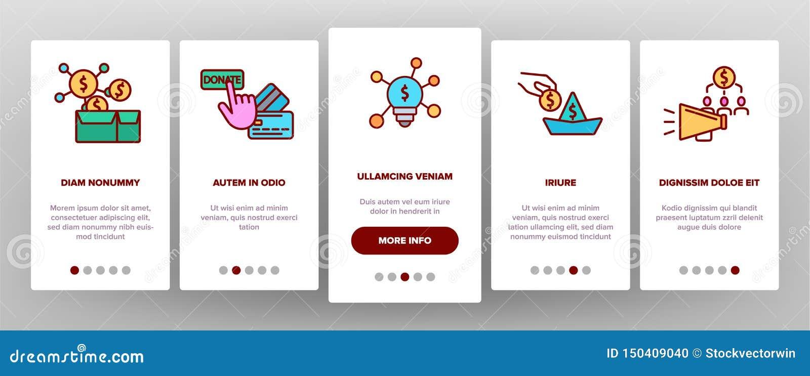 Crowdfunding, tela móvel da página do App de Onboarding do vetor coletivo do investimento