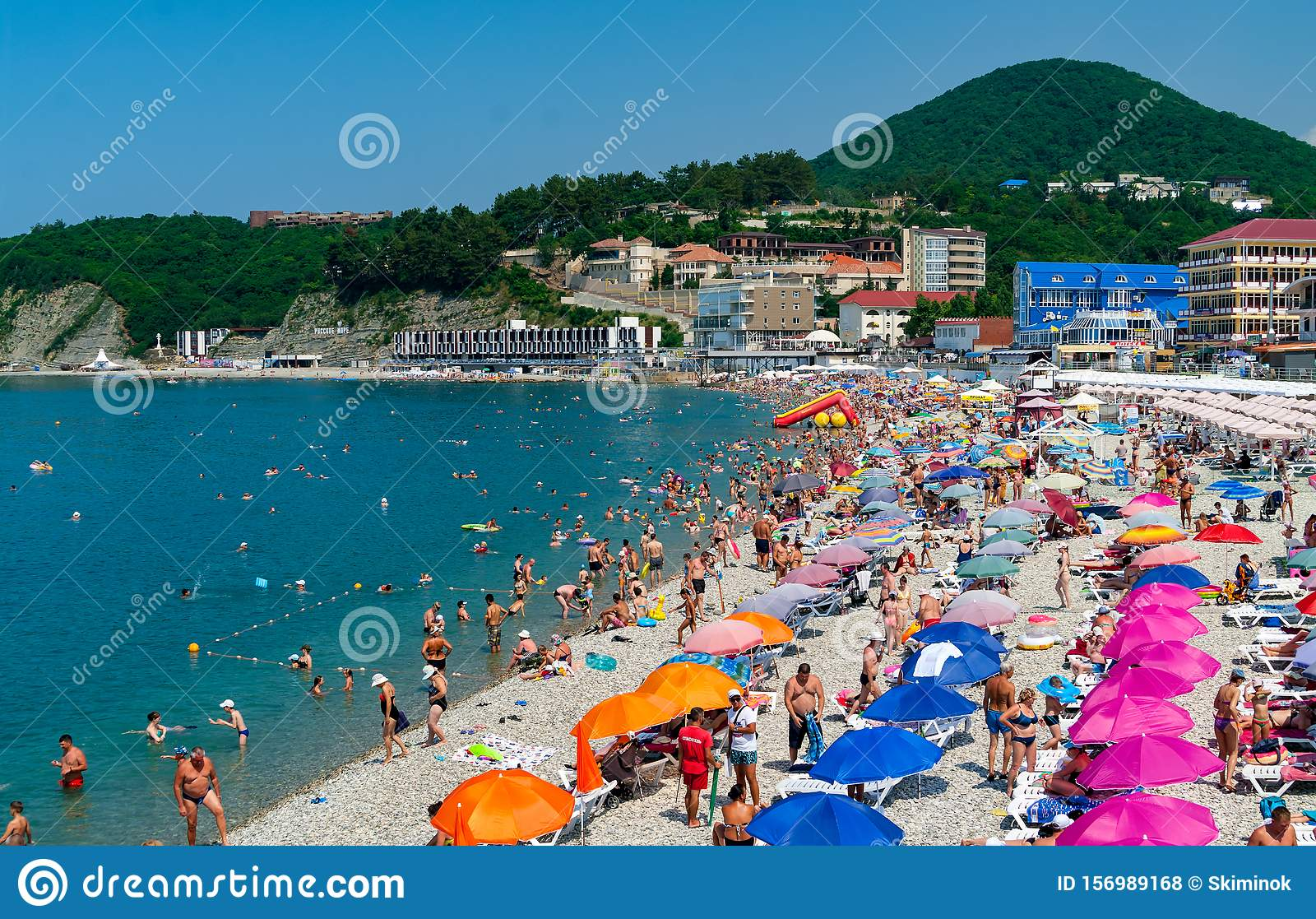 Crowds Of Bathers On The Beach At Black Sea Olginka Krasnodar Krai Russia Editorial Stock Photo Image Of Olginka Nature 156989168