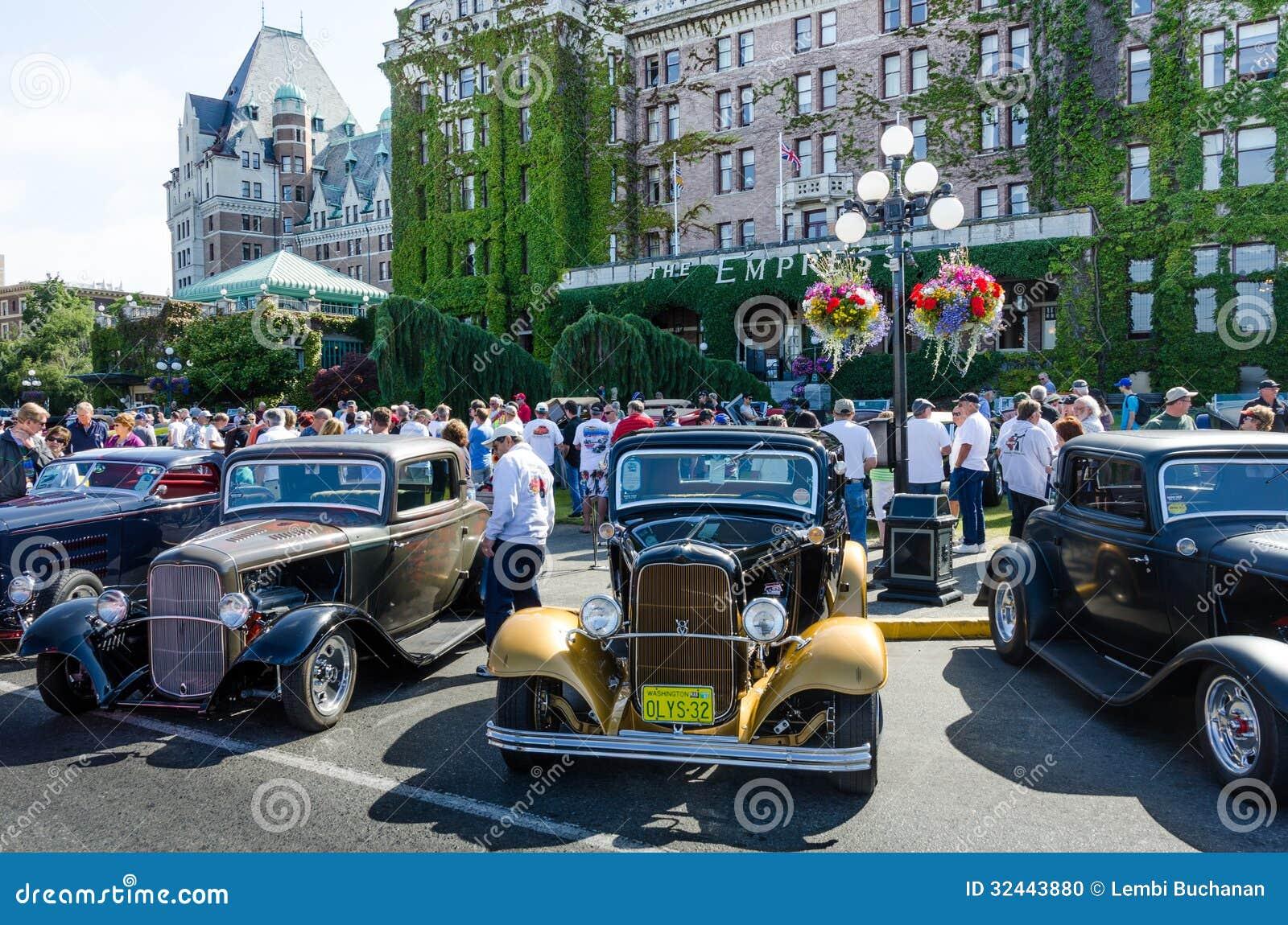 Crowds Inspect Vintage Cars During Northwest Deuce Days Editorial