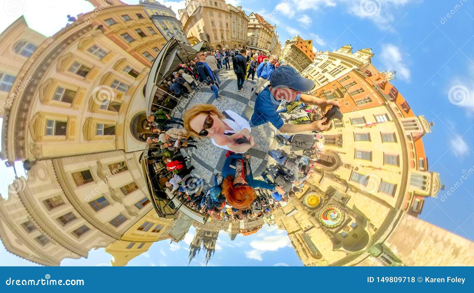 Crowds of tourists at Astronomical Clock of Prague Czech Republic