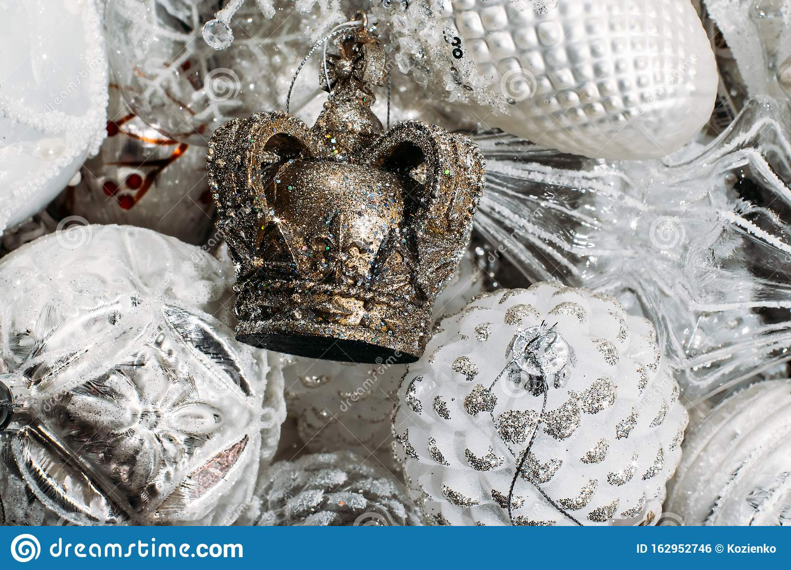 Crown Christmas Tree Decorations All In One Color White Background Stock Photo Image Of Merry Decoration 162952746