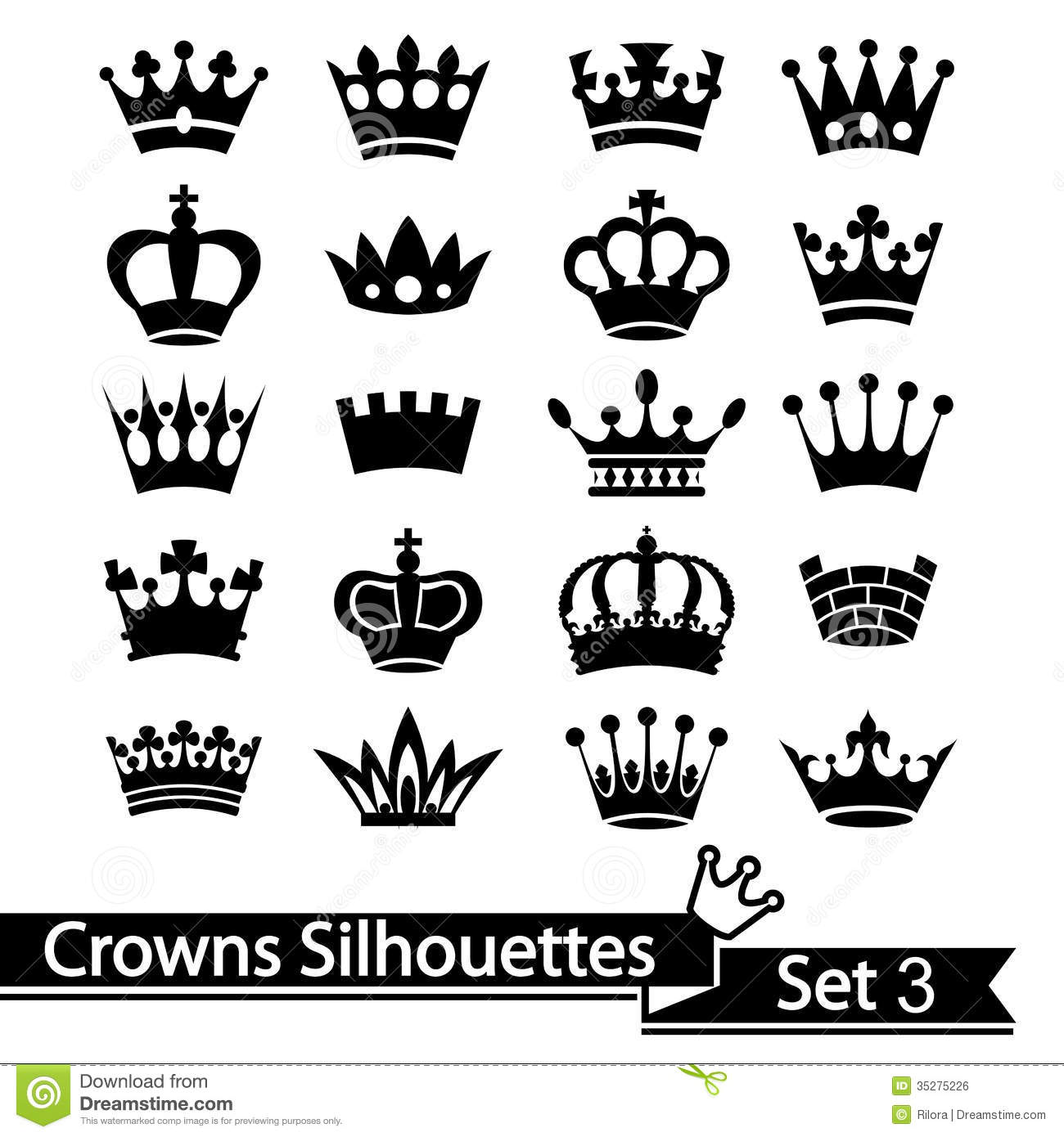 Crown Collection - Vector Silhouette Royalty Free Stock Image - Image ...