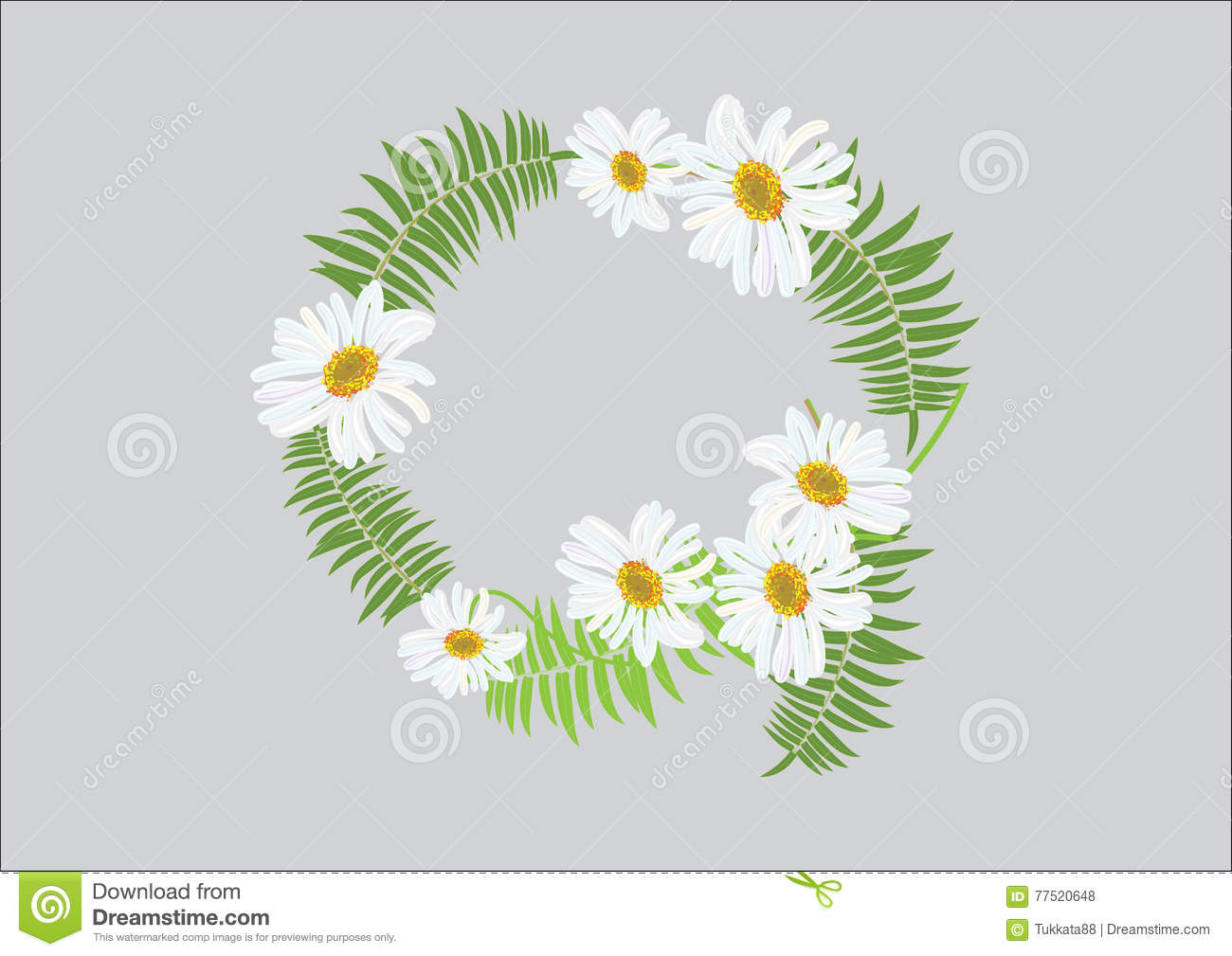 Crown Daisy Flower With Fern Headband Design Top View And Side