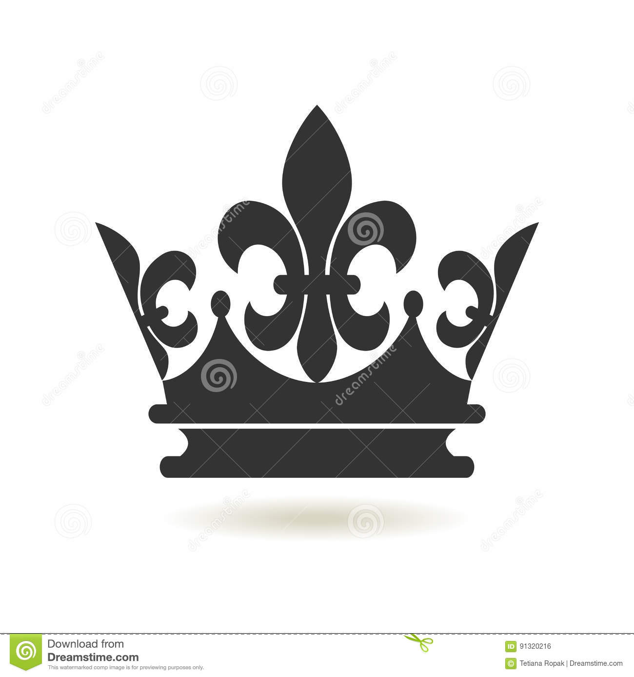 crown icon flat style monarchy authority and royal