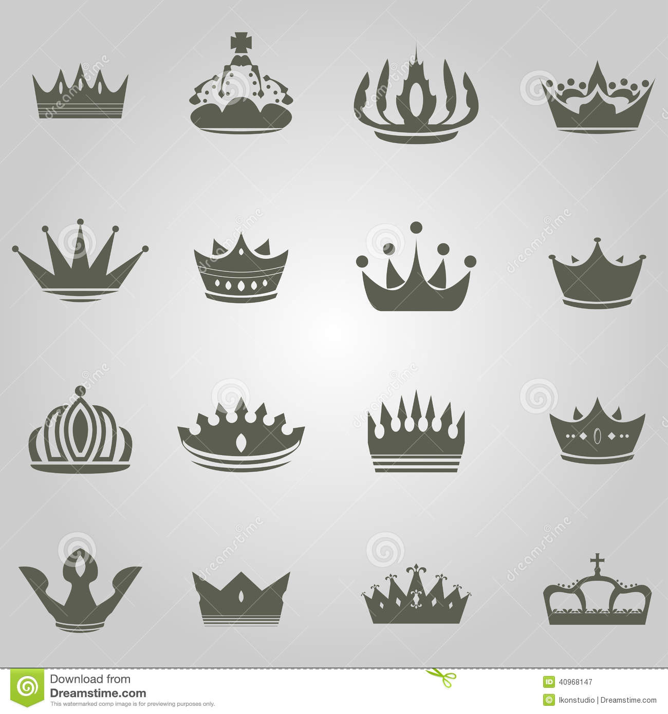 Queen And King Crown Symbol crown-icon-set-...