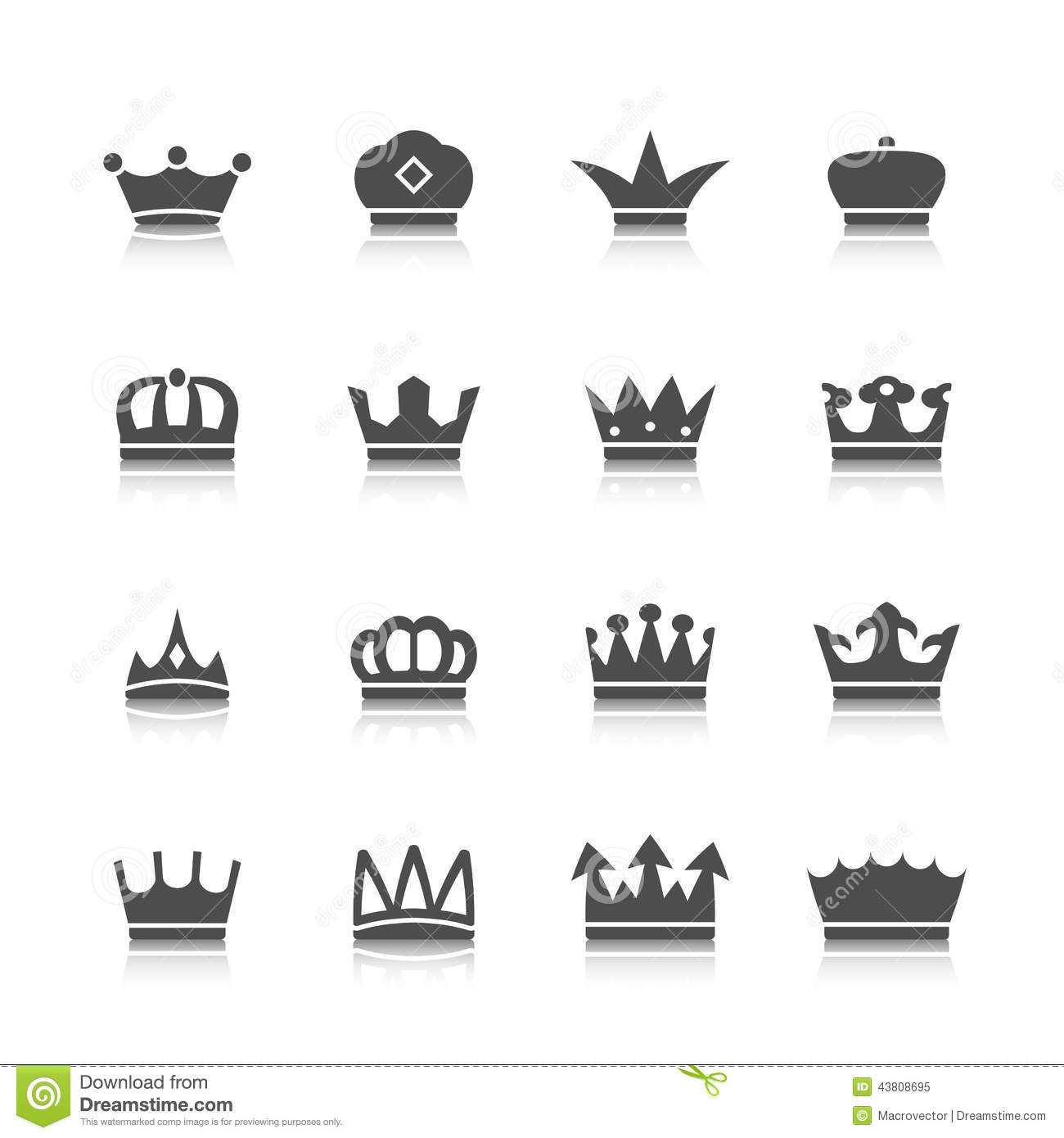 Decorative prince princess king type crowns tattoo authority and ...