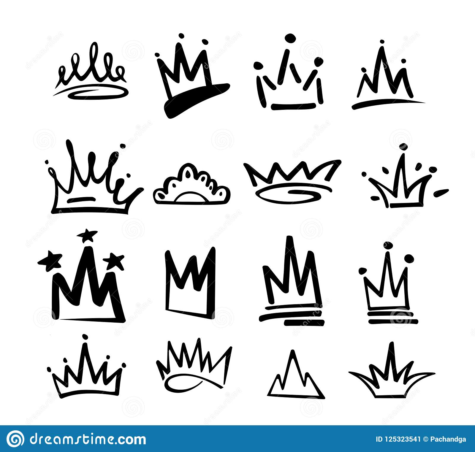 Crown Logo Graffiti Icon Black Elements Isolated On White