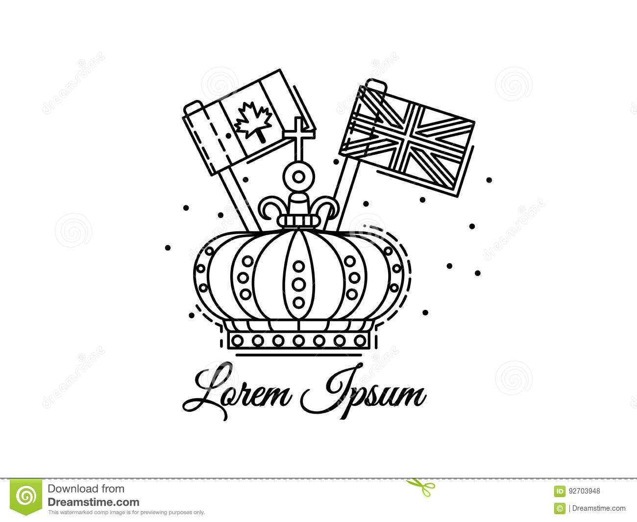 Crown Outline With Flags Canada And UK Black And White Vector