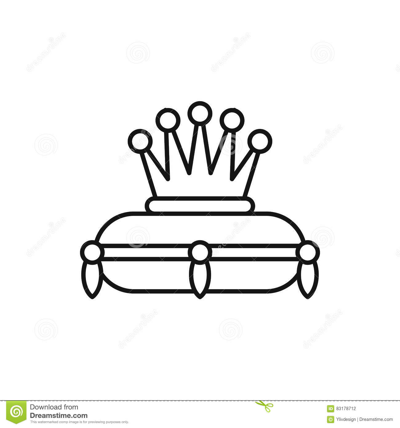 Monarchy crown icon outline style cartoon vector for Decor outline