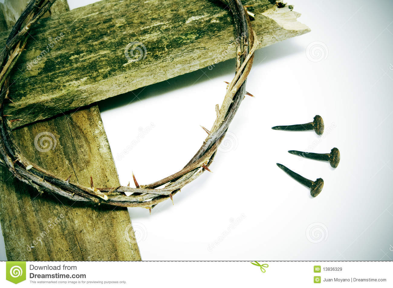 crown of thorns cross and nails royalty free stock images